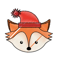 Christmas fox face cartoon vector