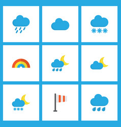 climate icons flat style set with flag frost vector image