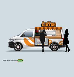 coffee maker vehicle-van template editable layout vector image