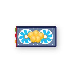 Coins bitcoin on a computer graphics card vector