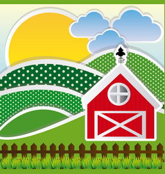 Color sun with cloud mountains and farm vector