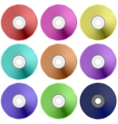 Colorful Realistic Compact Disc Collection vector image