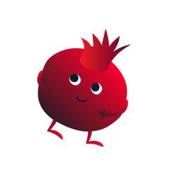 cute cheerful pomegranate funny fruit cartoon vector image
