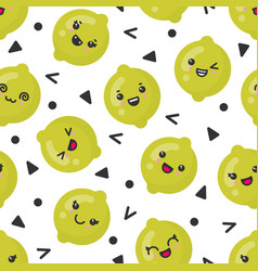 cute smiling lime fruits seamless pattern vector image