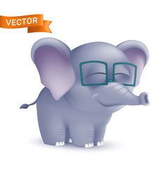 cute standing and squinting cartoon baelephant vector image