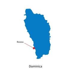 Detailed map of Dominica and capital city Roseau vector