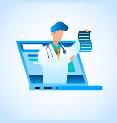 Doctor writes prescription online treatment vector
