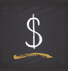 dollar sign icon brush lettering grunge vector image