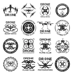 drone footage emblems vector image
