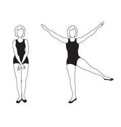elegant women silhouettes doing fitness exercises vector image