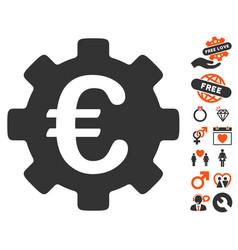 Euro development gear icon with valentine bonus vector