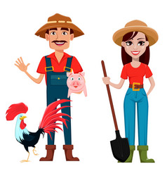 farmers man and woman cartoon characters vector image