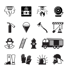 Firefighter black icons vector