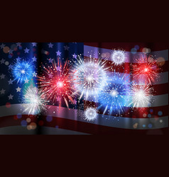 Firework over usa flag background national holiday vector