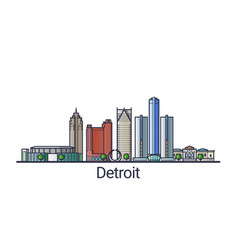 flat line detroit banner vector image