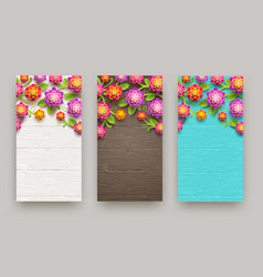 Flowers on a wooden plank background vector