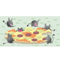 Funny critters with the pizza vector