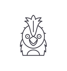 funny parrot line icon concept funny parrot vector image