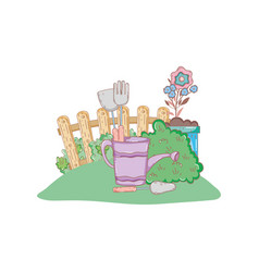 Gardener shower sprinkler with leafs and flowers vector