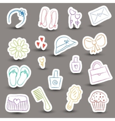 Girl accessories chalky doodles vector image