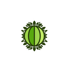 globe green world and leaf save earth logo vector image