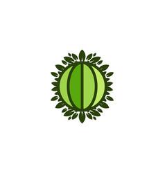 globe green world and leaf save earth logo vector image
