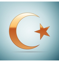 Gold islam symbol icon on blue background vector