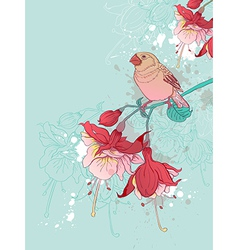 Green background with red flowers and bird vector image