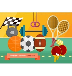 Gym with sport equipment concept vector