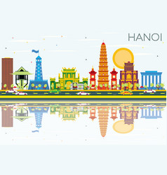 hanoi skyline with color buildings blue sky and vector image