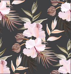 Hibiscus summer seamless pattern exotic plant vector