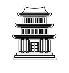 House japanese traditional chinese facade line vector