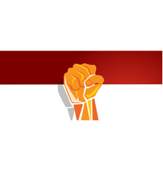 Indonesia independence day hand fist arm flag red vector