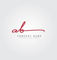Initial letter ab logo - hand drawn signature logo vector