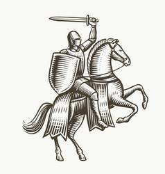 knight on horseback medieval heraldry symbol vector image
