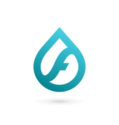 Letter F water drop logo icon design template vector image