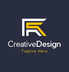 letter fr creative business modern logo vector image