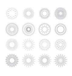 line vintage sunburst circle solar burst radiant vector image