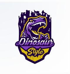 logo badge sticker dinosaur emblem and its vector image