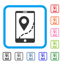 mobile map navigation framed icon vector image