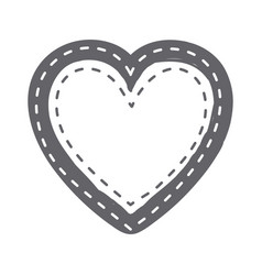 monochrome silhouette heart shape with lines vector image vector image