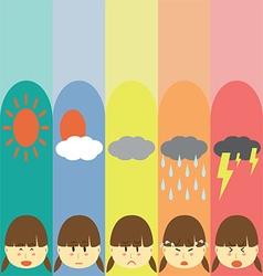 Moods Cute Pastel Girl Flat Cartoon vector
