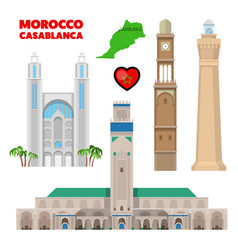 morocco casablanca travel set with architecture vector image