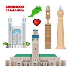 Morocco casablanca travel set with architecture vector