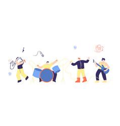 musician people rock pop boys band flat cartoon vector image