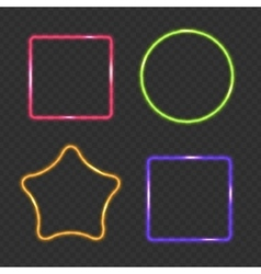 Neon frame rectangular star and round buttons vector