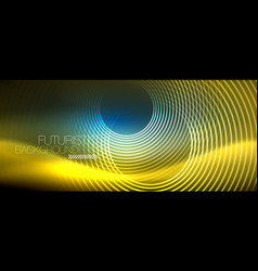 neon glowing circles background vector image