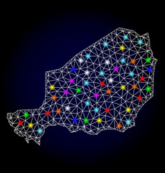 Network mesh map of niger with glare spots vector