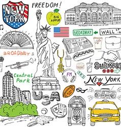 new york city doodles elements hand drawn set vector image