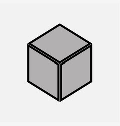 Nintendo cube icon gray vector